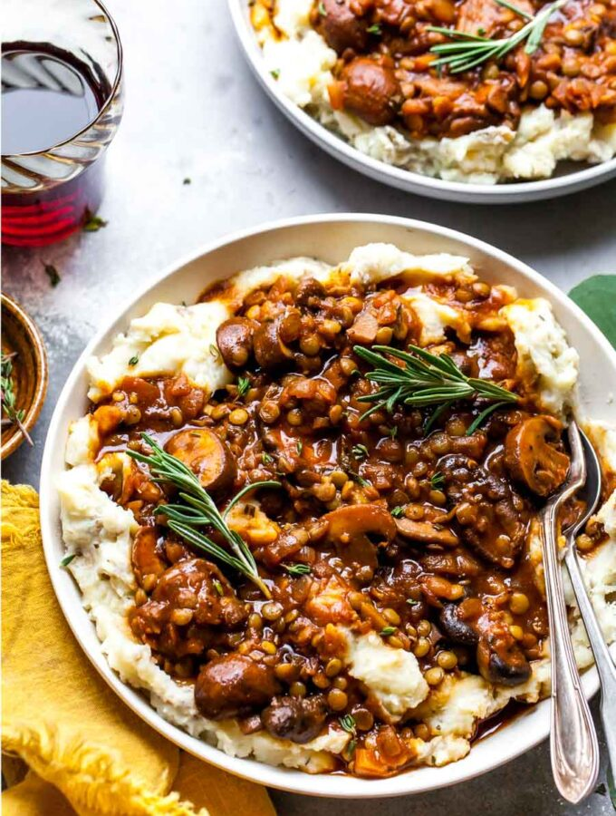 Vegetarian Lentil Stew with Mushrooms Over Mashed Potatoes and Parsnips