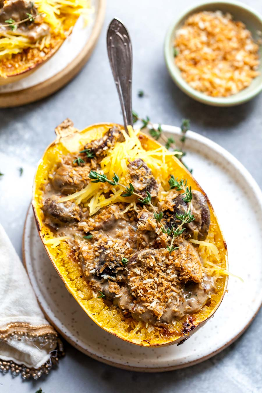Stuffed Spaghetti Squash with Mushroom Stroganoff Sauce