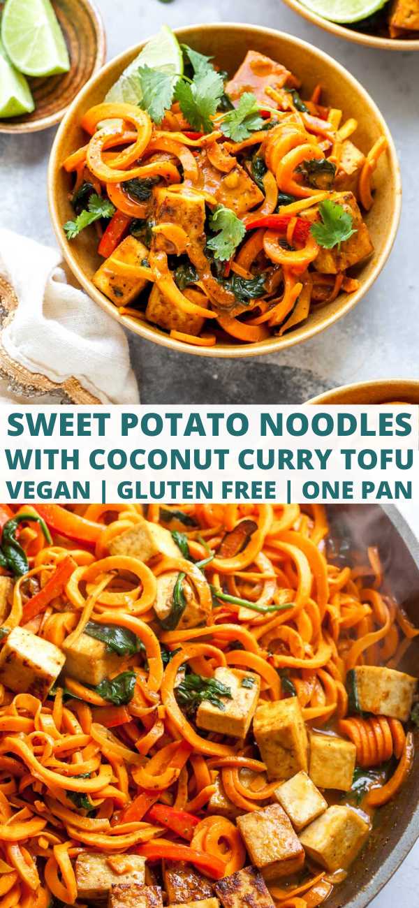 Spiralized Sweet Potato Noodles with Crispy Tofu and Thai Coconut Curry Sauce (Vegan, Gluten Free, One Pan)