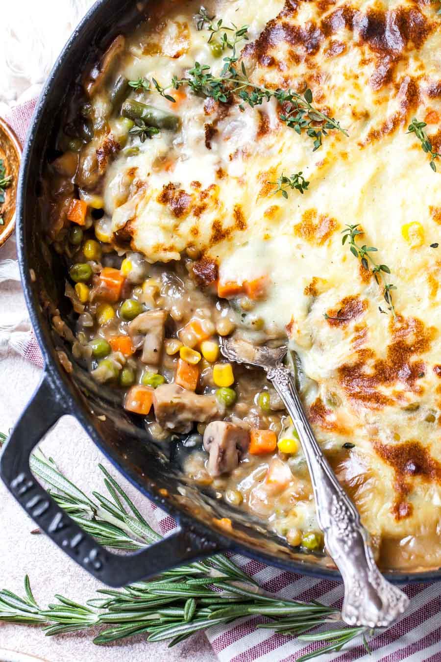 Lentil and Mushroom Shepherd's Pie for Dinner (freezer-friendly)