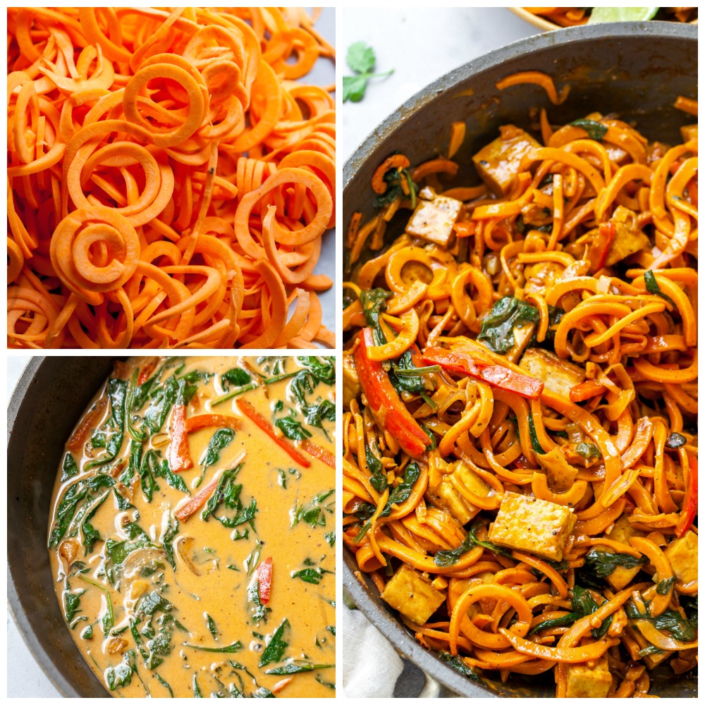 Spiralized Sweet Potato Noodles (How to Cook)
