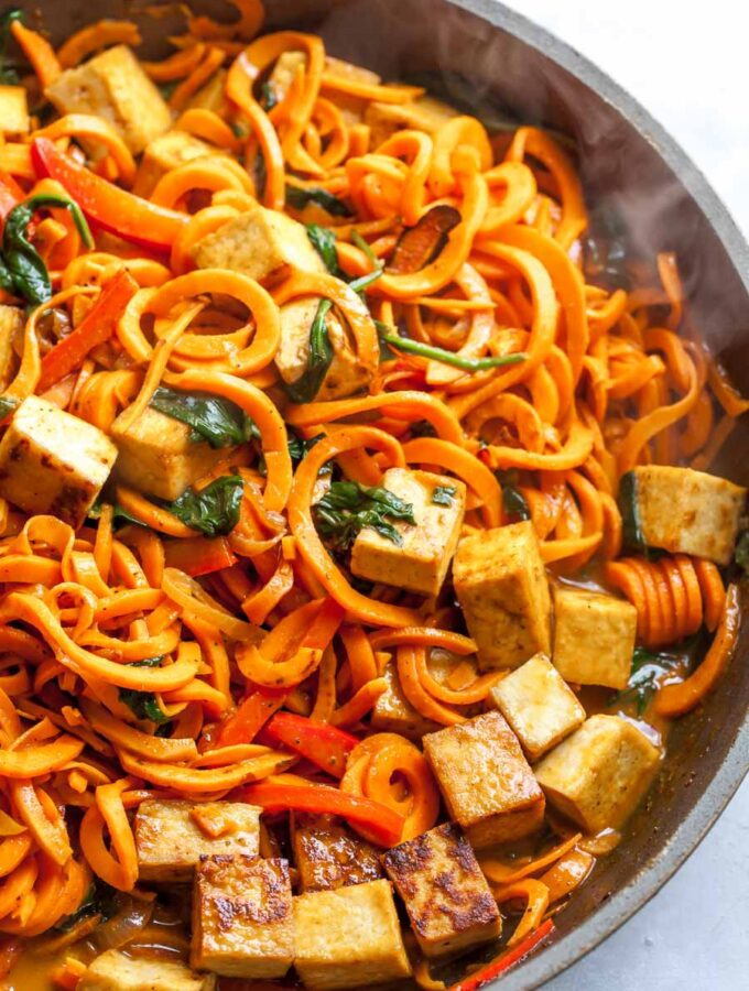 Sweet Potato Noodles with Crispy Tofu and Coconut Curry Sauce