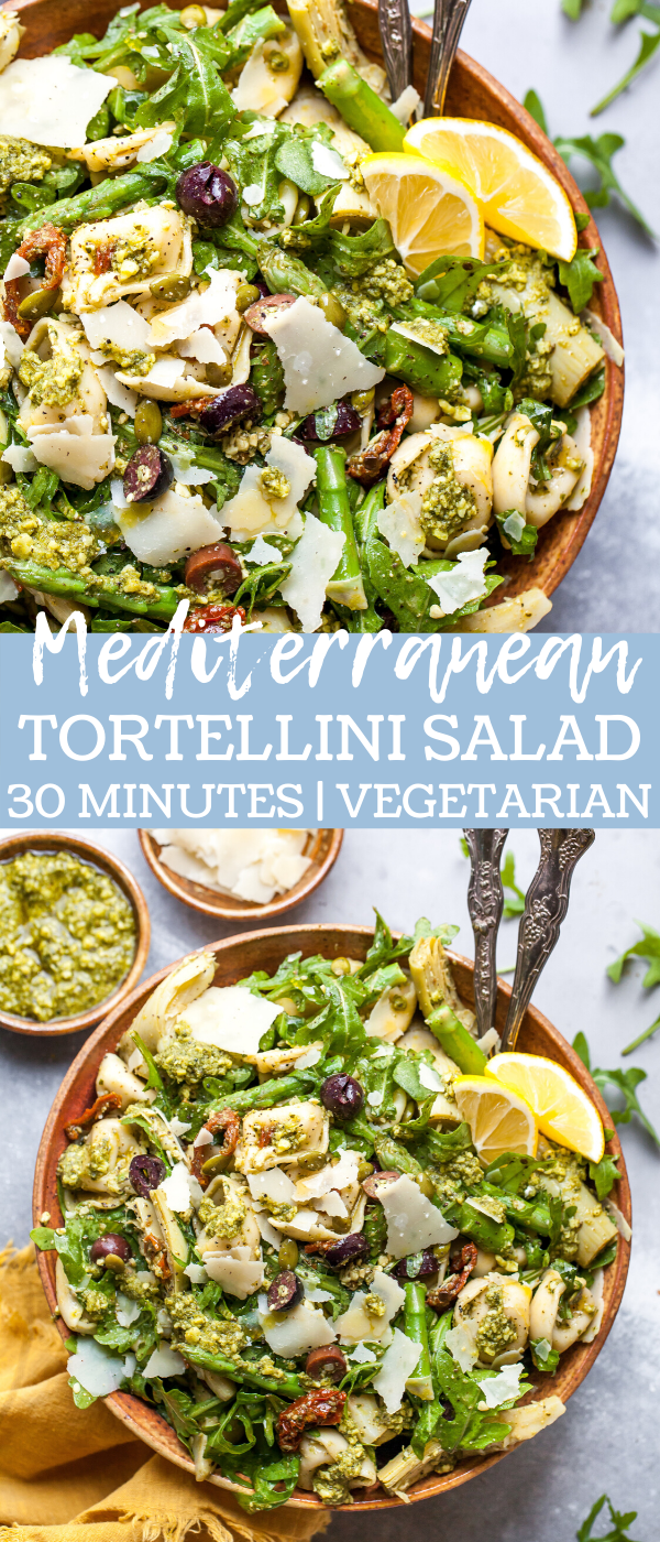 Mediterranean Tortellini Salad with Pesto, Sun-Dried Tomatoes, Asparagus, Artichokes, and Parmesan.