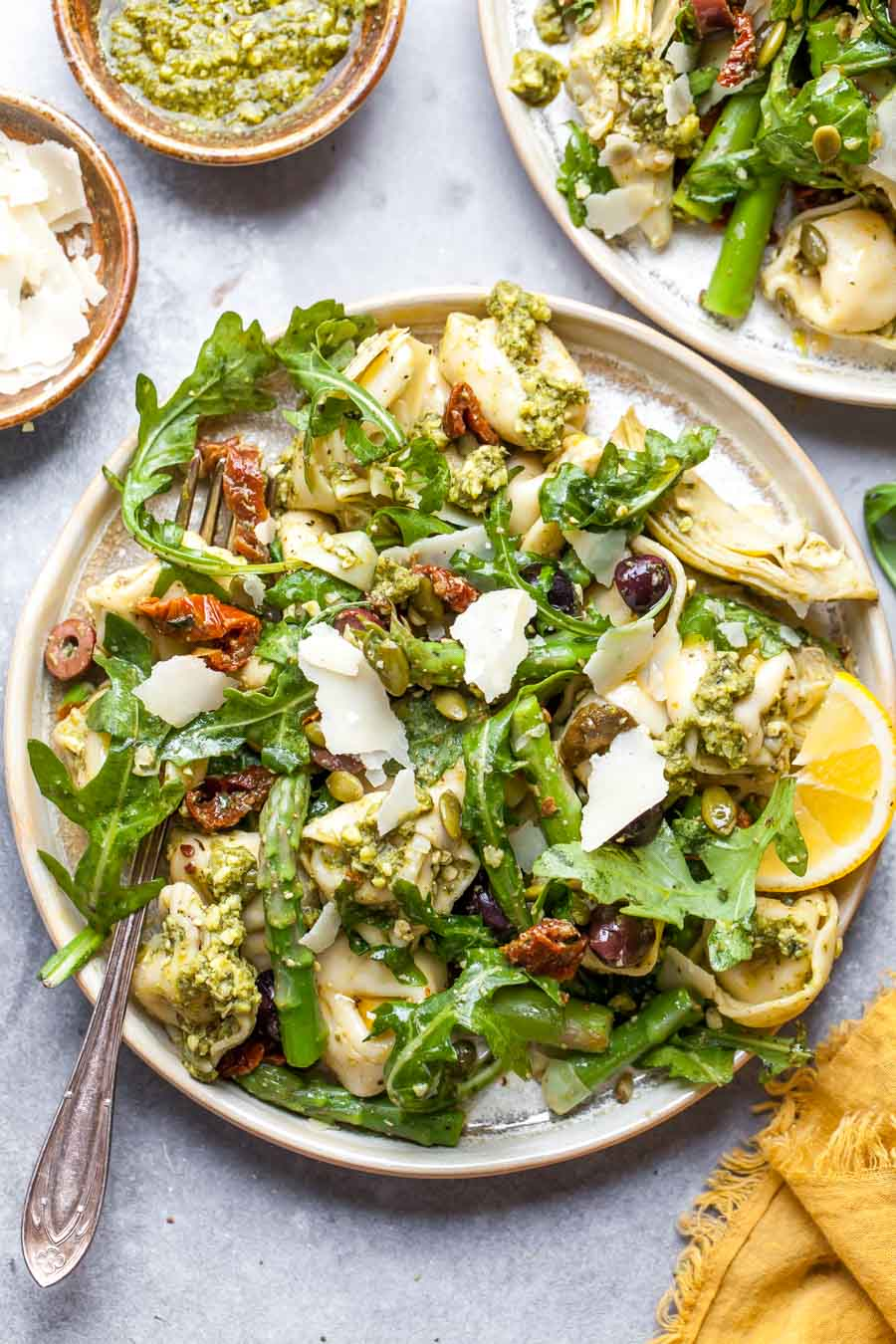 Easy Tortellini Salad with Mediterranean Veggies and Pesto Sauce