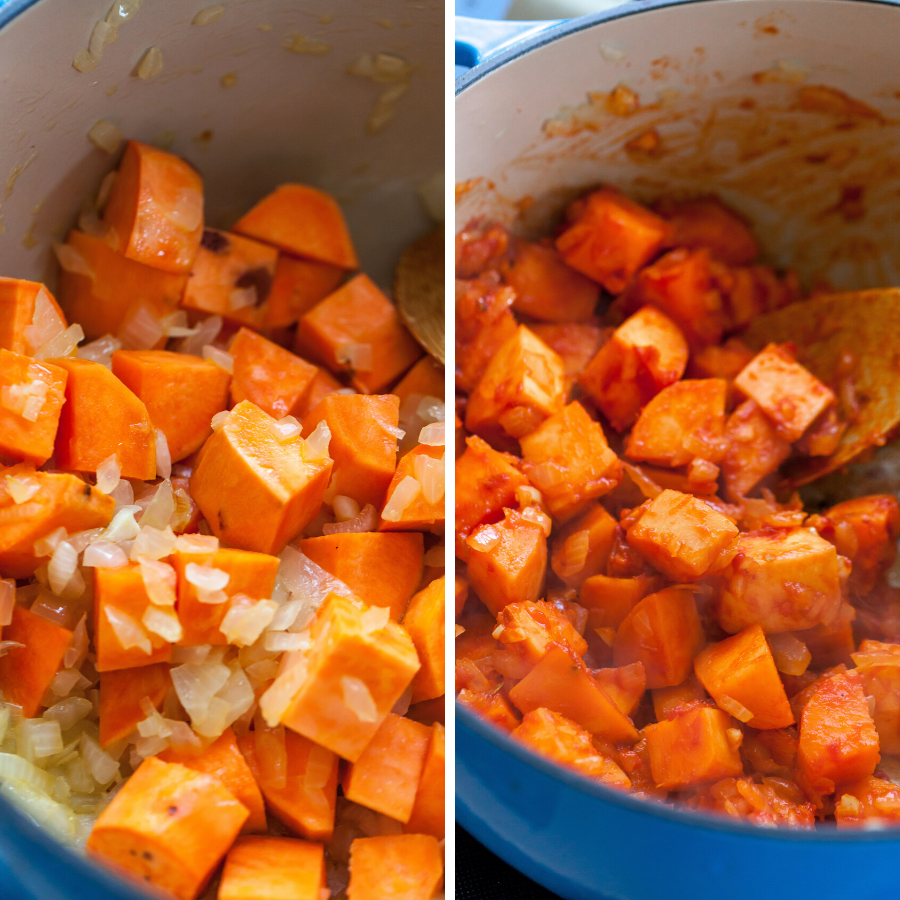 Sweet Potatoes, Aromatics, and Tomato Paste Sautéed for Stew
