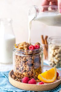 Big Cluster Homemade Granola made with Olive Oil, Almond Butter, and Fresh Orange Juice