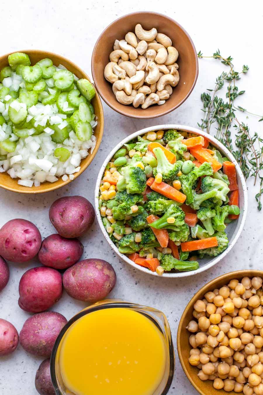 Ingredient Shot Breakdown for Vegetable Soup