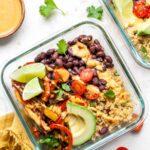 Meal Prep Vegan Burrito Bowls with Quinoa, Cumin Black Beans, Sauteed Veggies, and Chipotle Cream