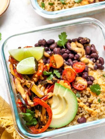Vegan Burrito Bowls with Cilantro-Lime Quinoa, Black Beans, Sauteed Peppers, and Chipotle Cashew Cream for Meal Prep