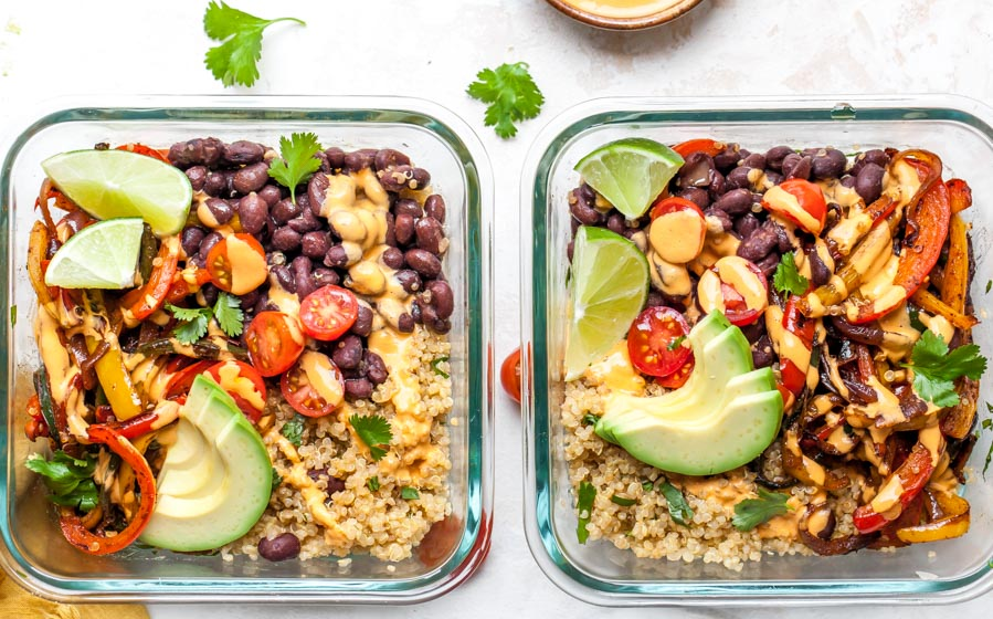 How to Make Meal Prep Vegan Burrito Bowls with Chipotle Cashew Cream