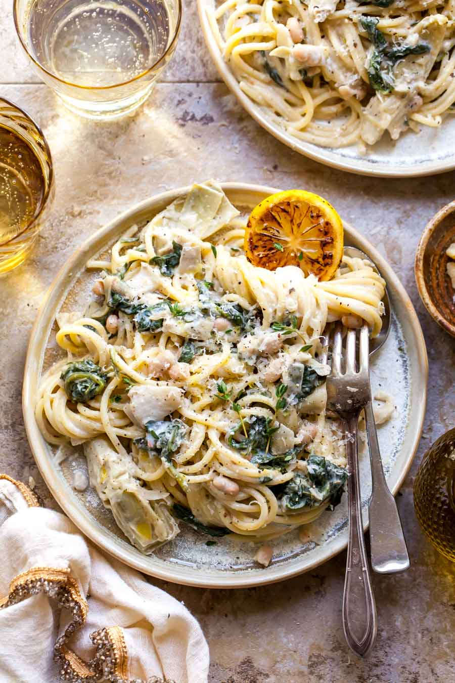 Vegetarian Spinach Artichoke Pasta with White Beans and Lemon-Parmesan Sauce