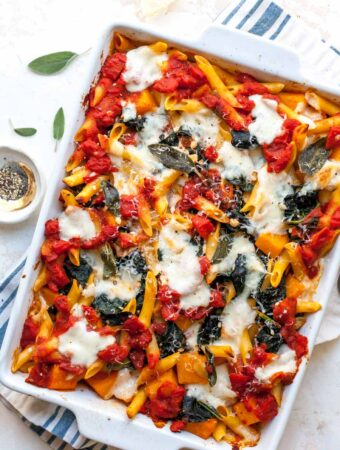 Butternut Squash and Kale Baked Pasta with Mozzarella (Vegetarian)