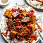Balsamic-Marinated Tofu Served with Rice