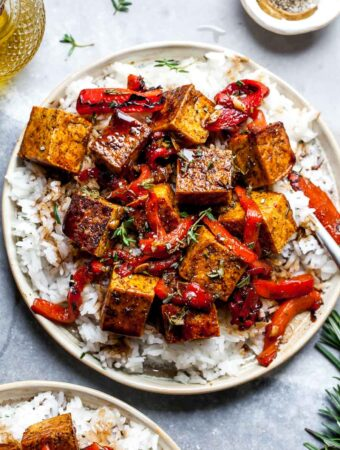 Balsamic-Marinated Tofu with Roasted Red Peppers and Rice