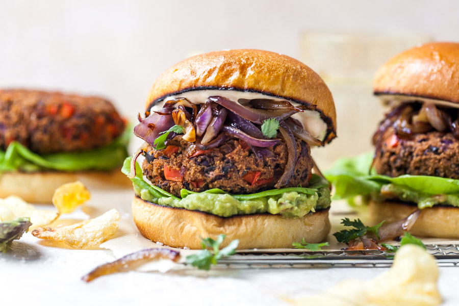 Homemade Chipotle Veggie Burgers with Guacamole and Caramelized Onions