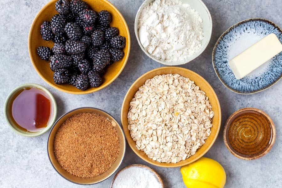 Ingredients for Healthy Blackberry Crumble Bars