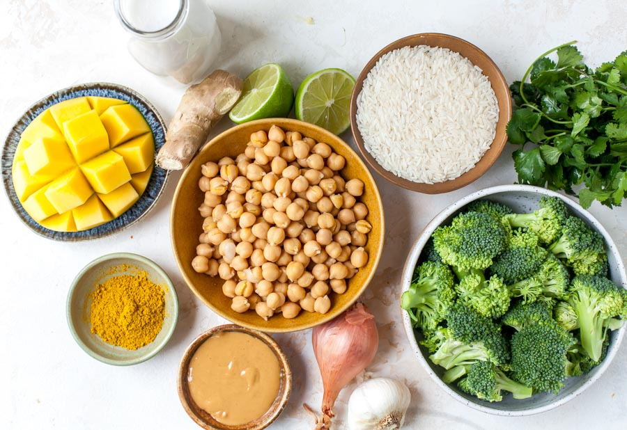 Ingredient layout for coconut chickpea curry