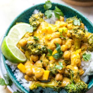 Vegan Coconut Chickpea and Broccoli Curry with Mango