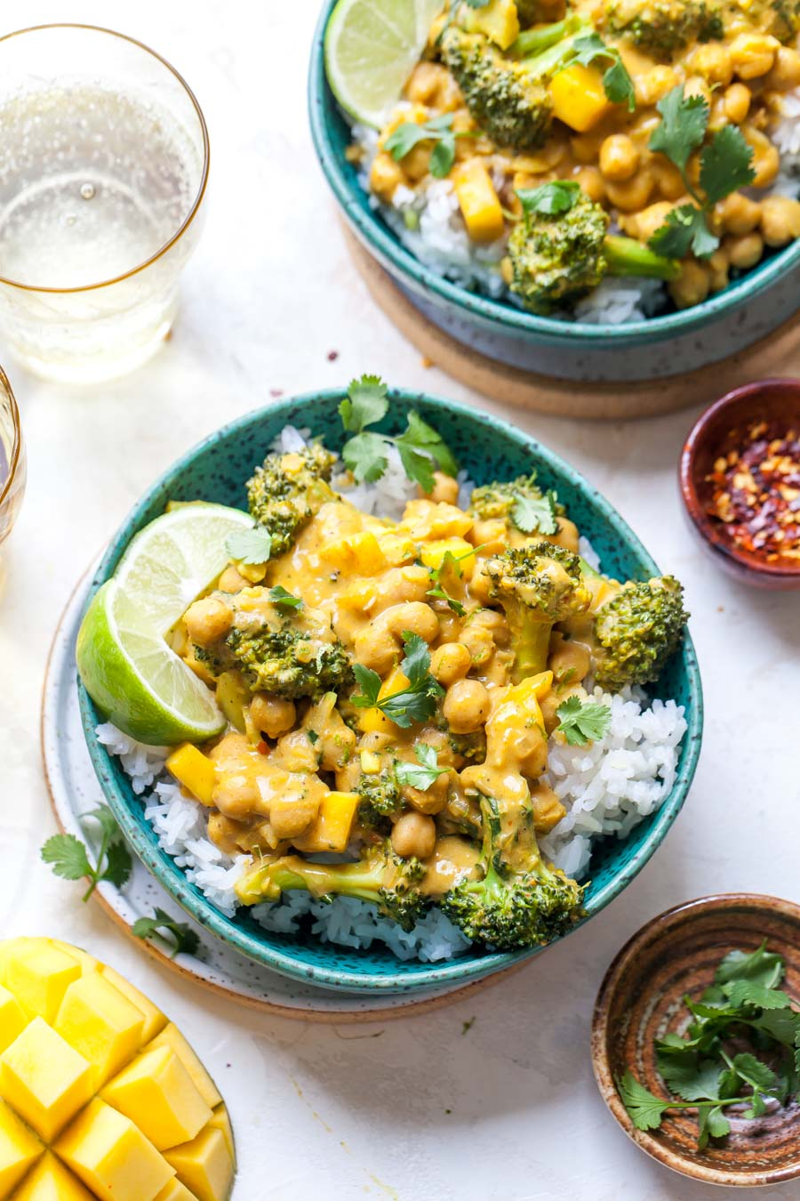 Bowl of broccoli and chickpea curry over rice