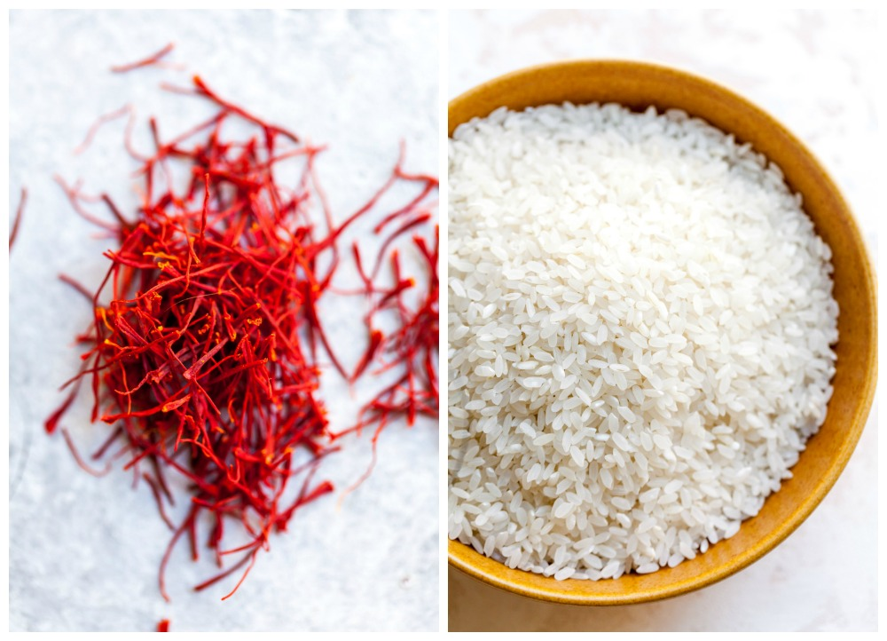 Saffron threads and short-grain white rice
