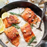 Crispy Salmon with Creamy Walnut-Rosemary Sauce