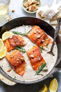 Crispy Salmon with Creamy Walnut-Rosemary Sauce