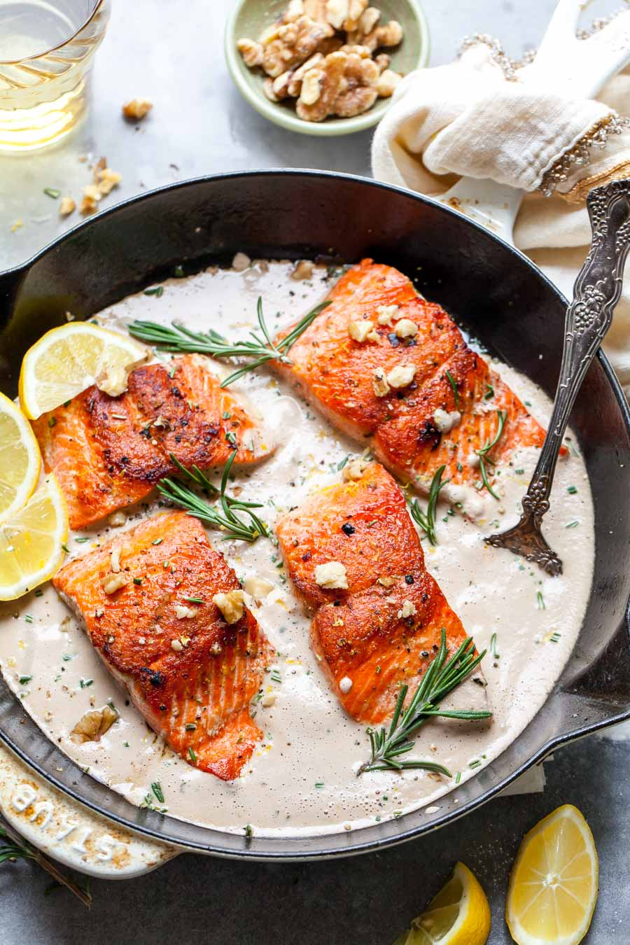 Pan-Seared Salmon with Creamy Walnut-Rosemary Sauce