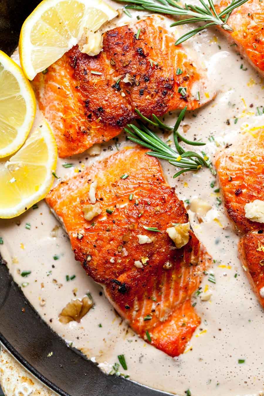 Crispy Salmon Fillets with Dairy-Free Cream Sauce