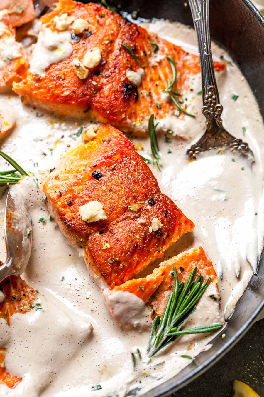 Crispy Salmon Fillets with Creamy Rosemary Sauce
