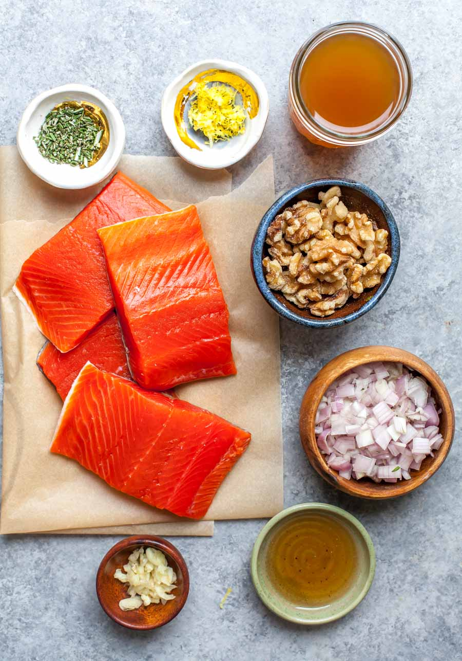 Ingredient Layout for Crispy Pan-Seared Salmon