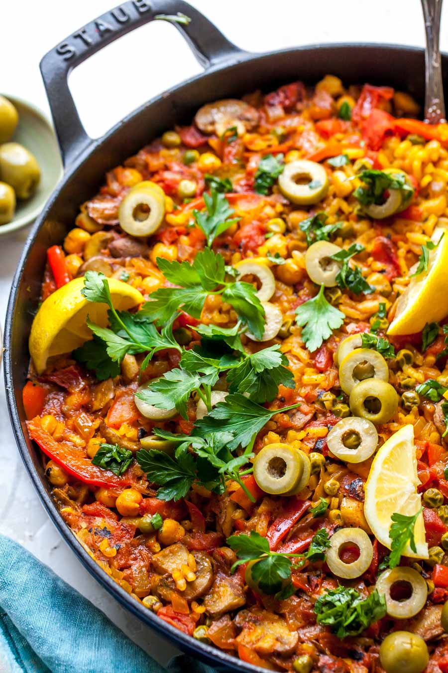 Vegetable Paella Recipe with Parsley Oil