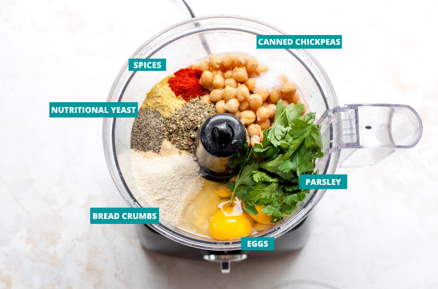 Chickpeas, eggs, parsley, breadcrumbs, and spices in a food processor