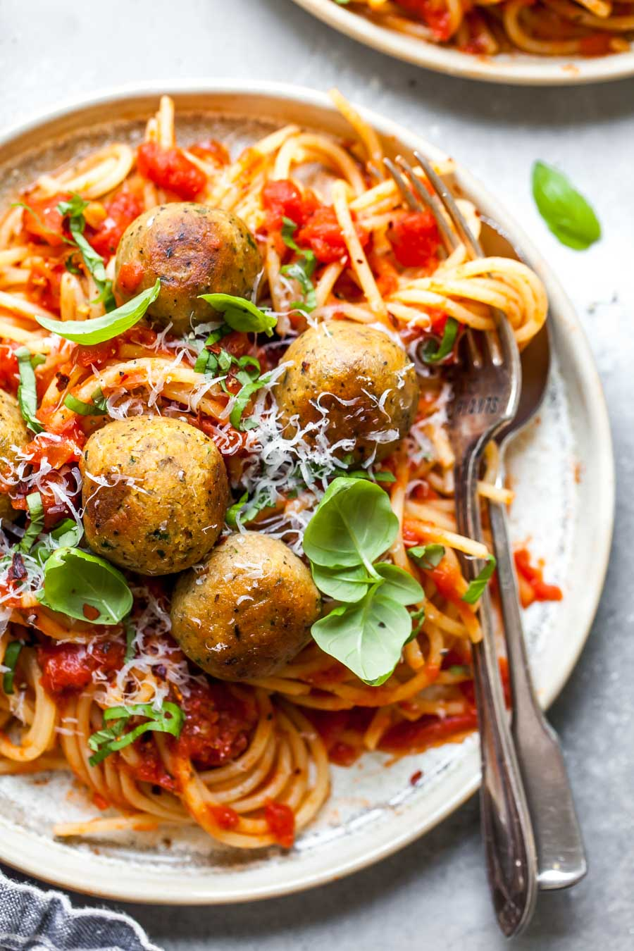 "Vegetarian Meatless ""Meatballs"" with Spaghetti"