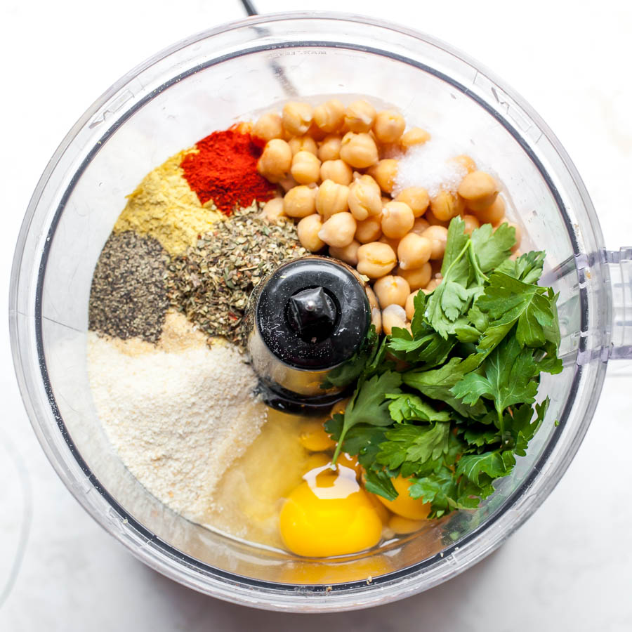 Food Processor showing ingredients for chickpea meatballs