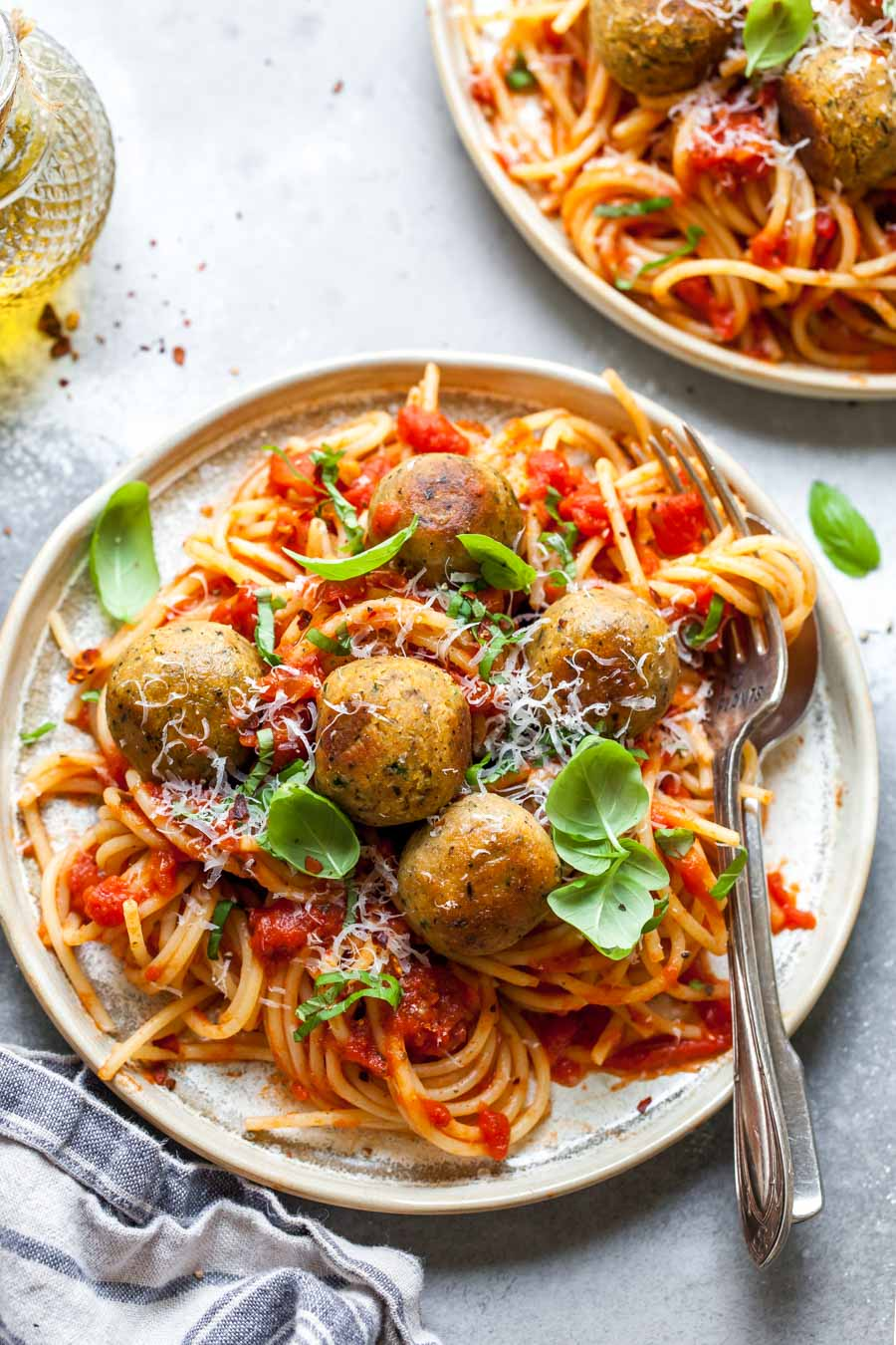 "Spaghetti served with bean-based ""meatballs"""