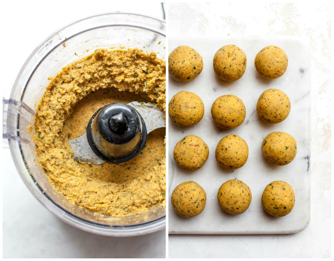 Step-by-step collage showing how to blend and roll vegetarian meatballs