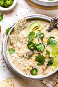 Vegetarian Enchilada Soup with white beans, chiles, and corn