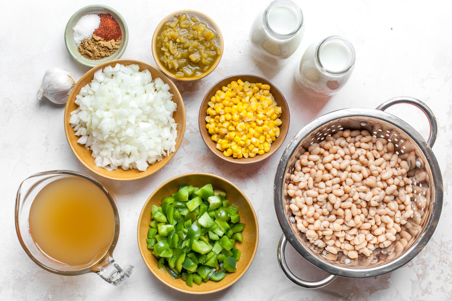 Ingredient layout showing what goes in White Bean Enchilada Soup