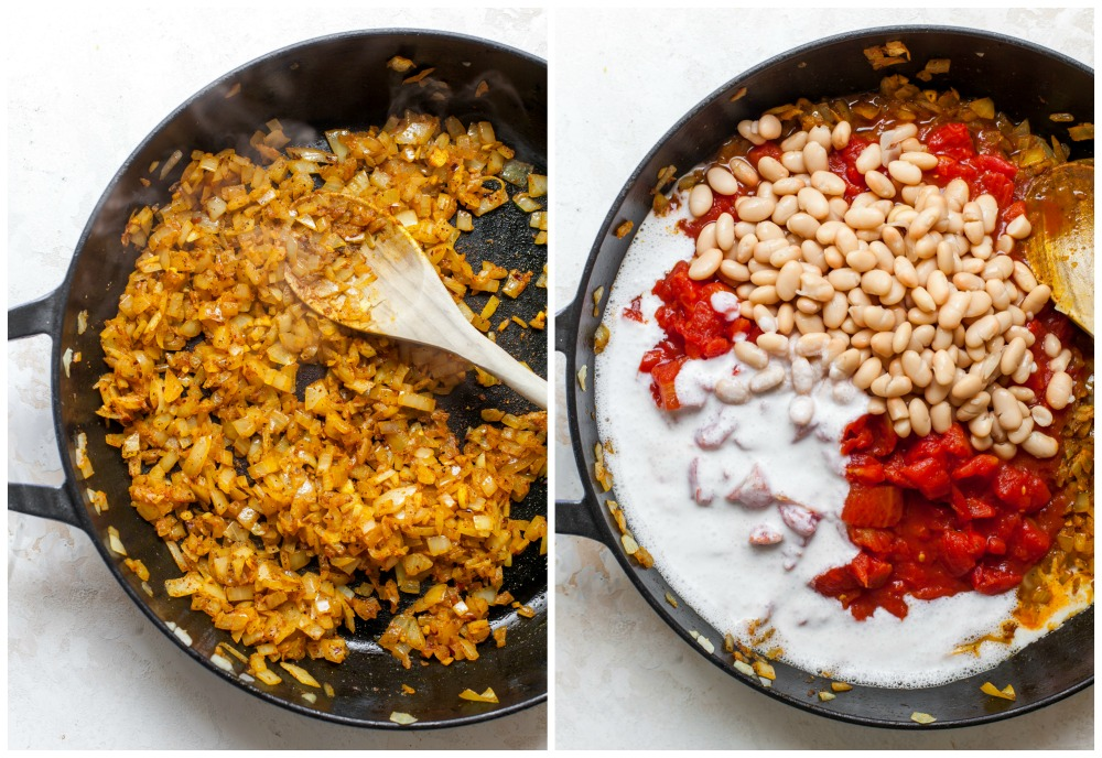 Step-by-step images showing how to make curried tomatoes and beans