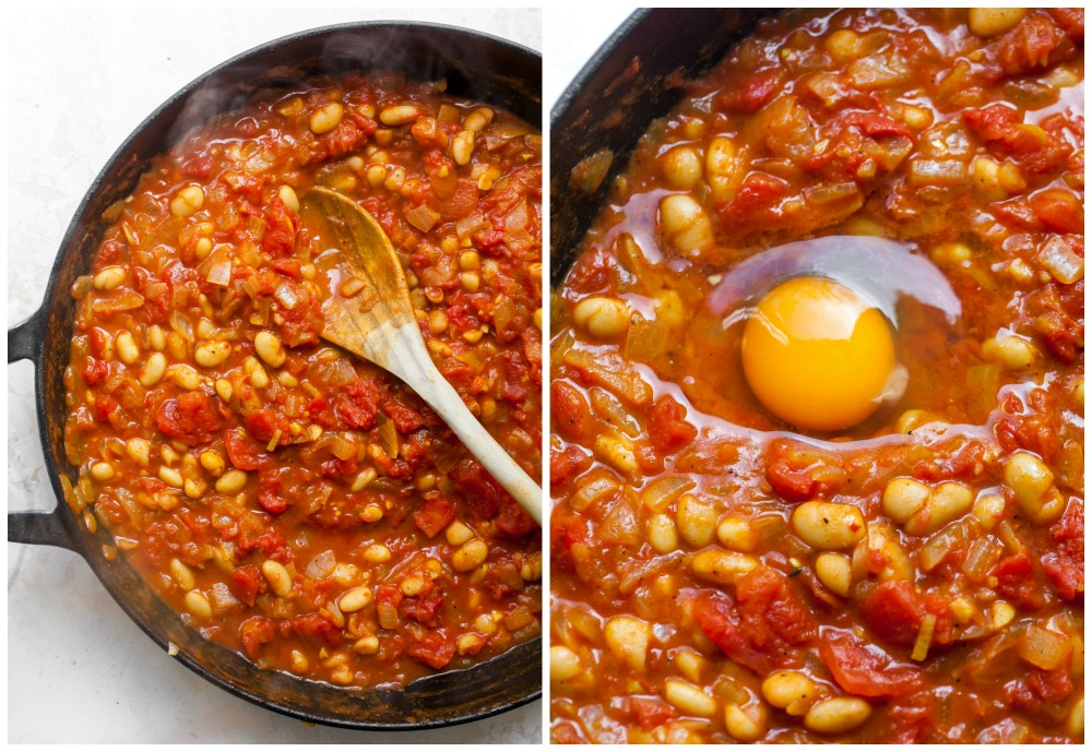 Step-by-step collage showing how to simmer stewed tomatoes and eggs