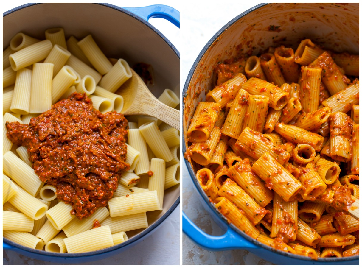 Step-by-step photos showing rigatoni with sauce mixed in