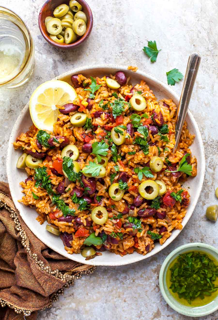 One Pot Spanish Beans and Rice with Parsley Oil