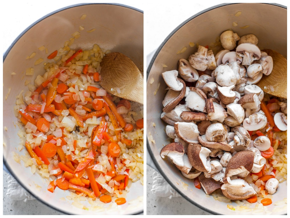 Step-by-step process of searing aromatics and mushrooms