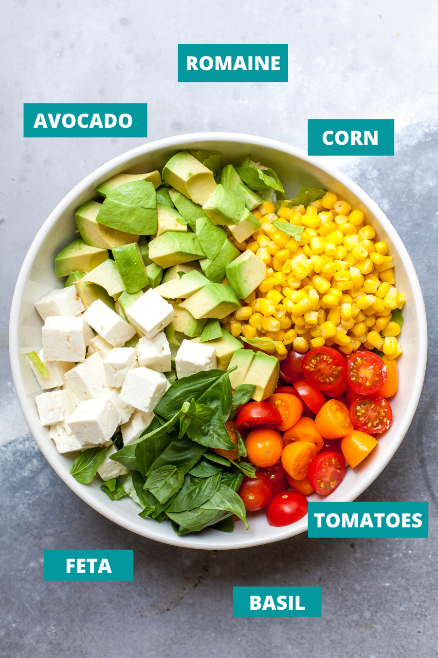 Tomato, Avocado, and Feta Salad ingredients