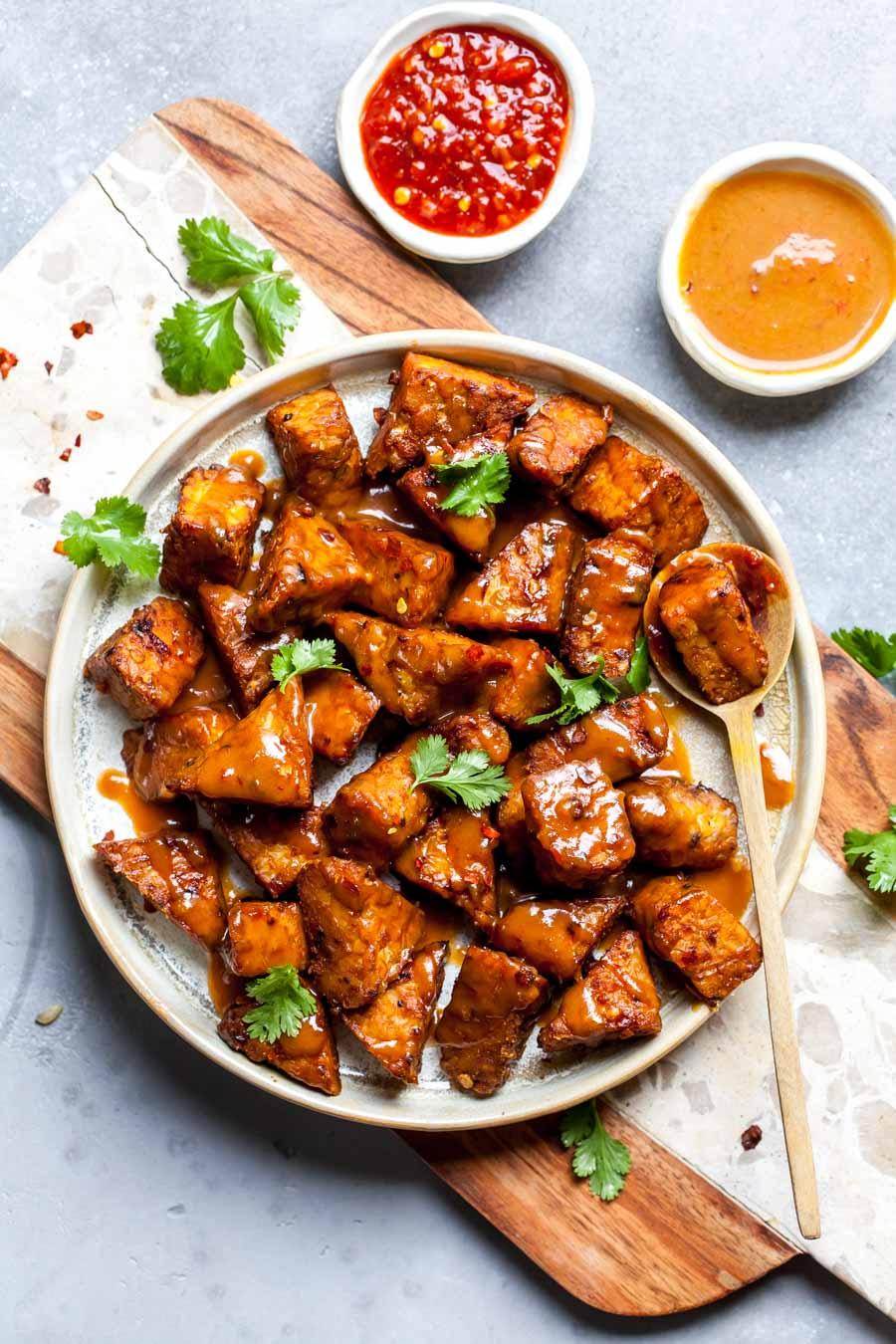 Peanut-ginger glazed tempeh for meatless entree