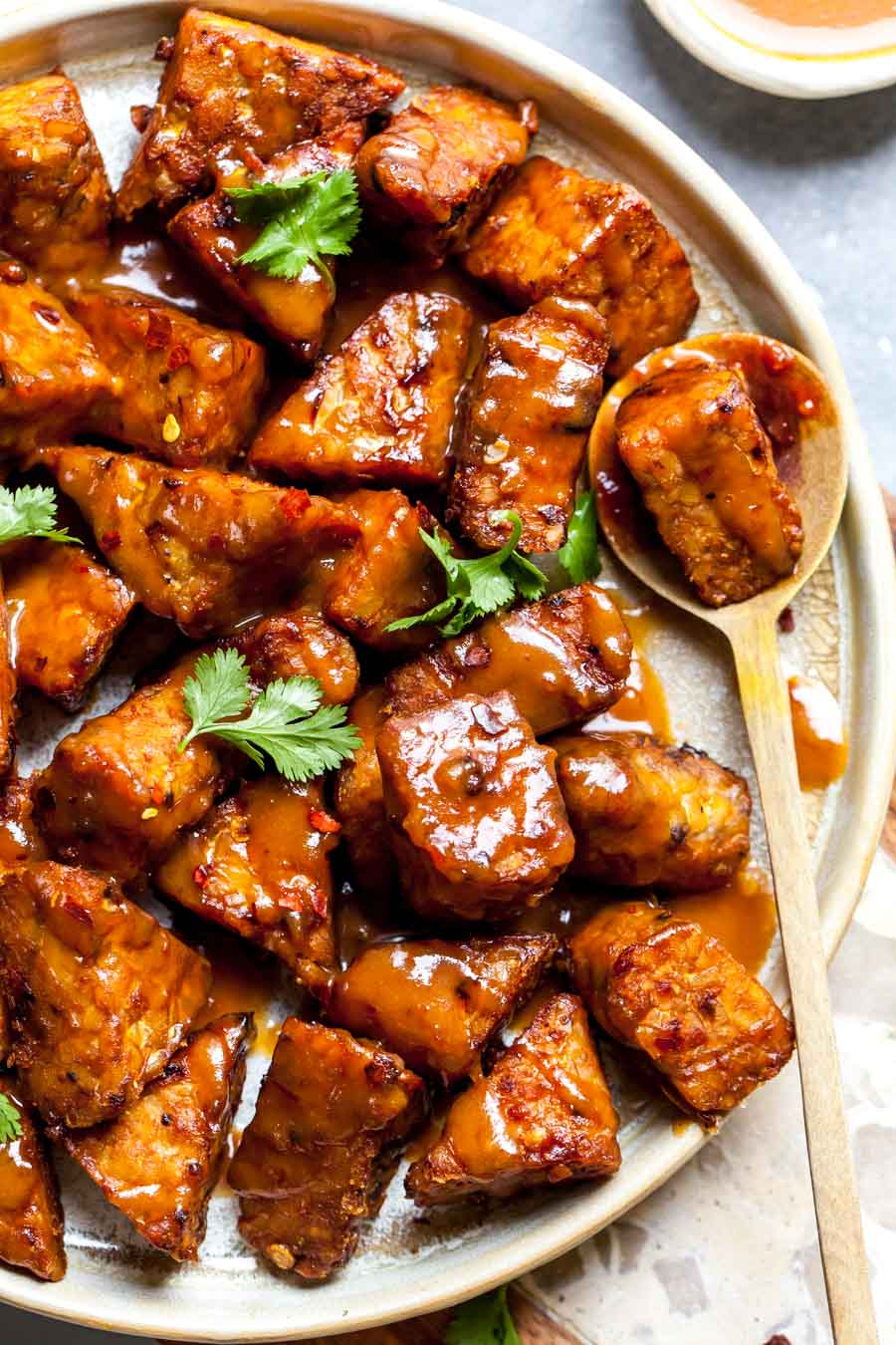 Close up image showing tempeh with peanut sauce