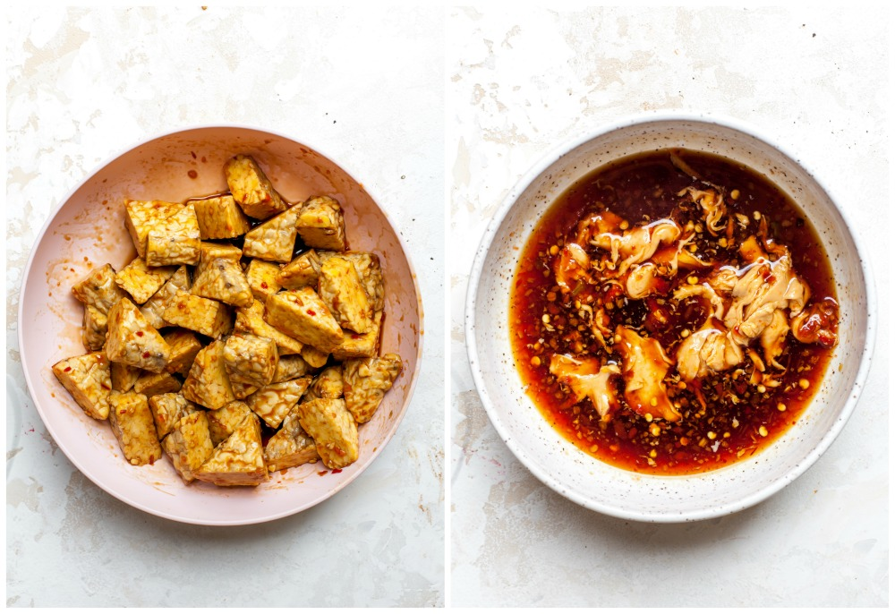 Side-by-side images showing how to marinate tempeh and make peanut sauce