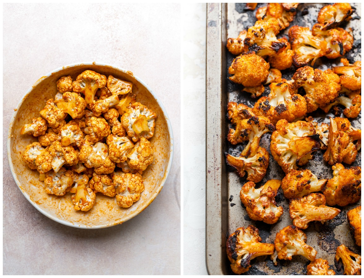 Step-by-step photos showing marinated and roasted cauliflower