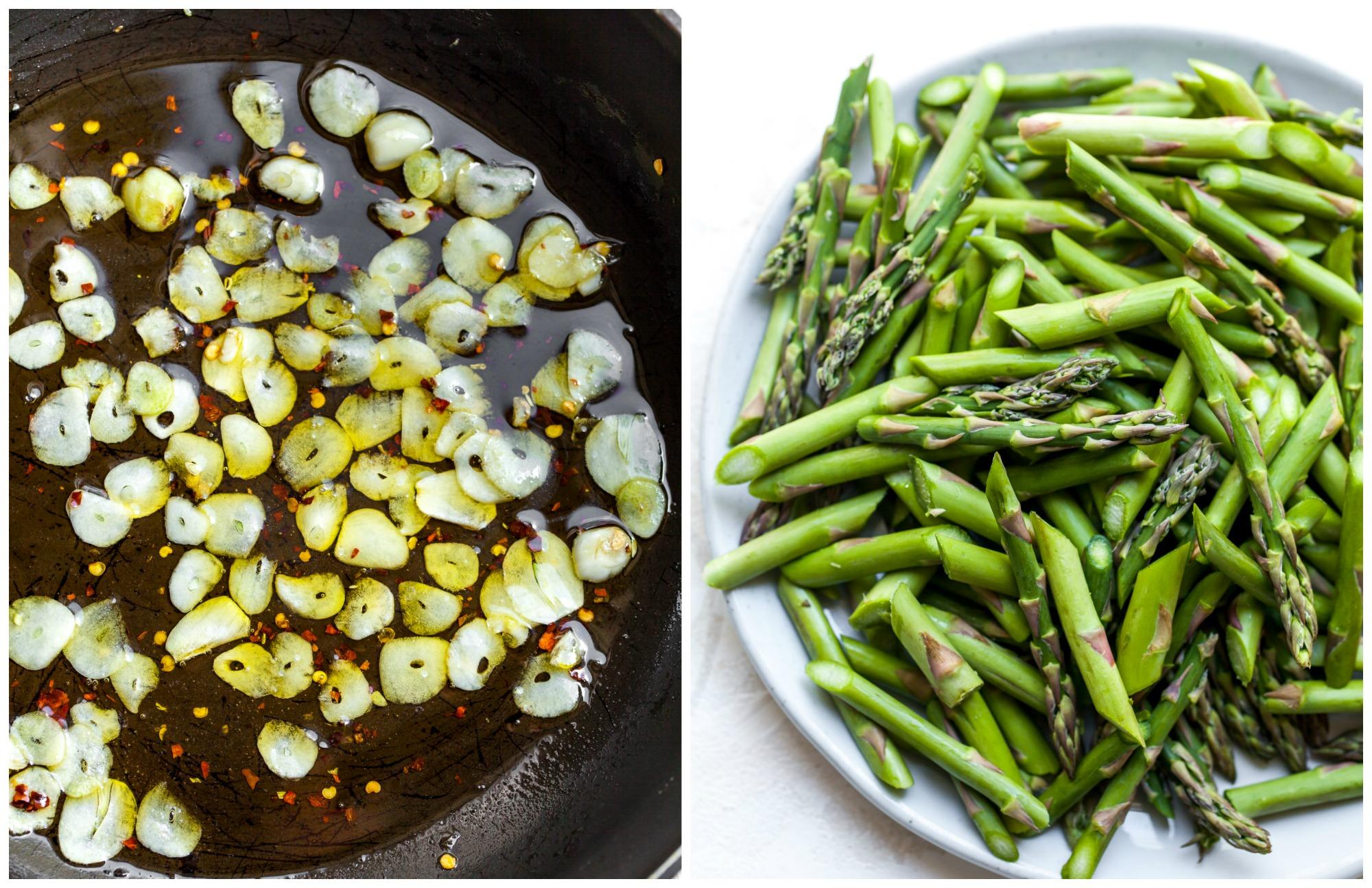 Sautéed garlic in a pan and chopped asparagus