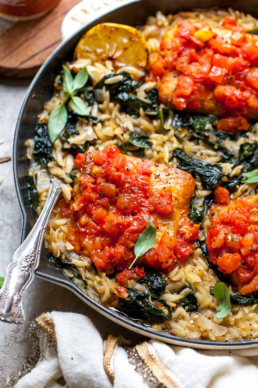 Wild salmon and orzo with kale